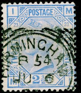 SG157, 2½d blue PLATE 23, USED, CDS. Cat £32. MI