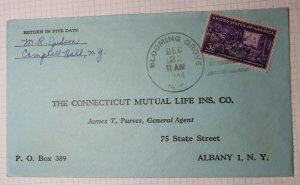 US Post Office Hand Stamp Cancel Blooming Grove NY 1944 Last Day ? Cover