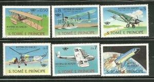 St. Thomas Prince Islands MNH 528-33 History Of Aviation SCV 10.60