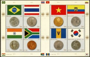 UNITED NATIONS Sc# NY 930 Geneva 469 Vienna 392 2007 Flags & Coins Sheets MNH