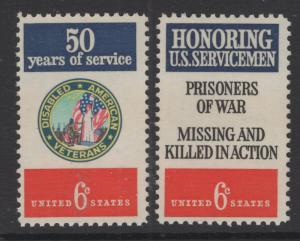 US 1970 6c Stamp Disabled Veterans & Servicemen Pair Scott 1421 - 2 MNH