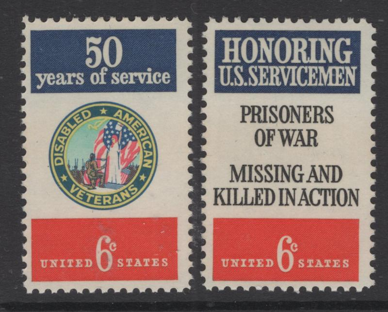 US 1970 6c Stamp Disabled Veterans & Servicemen Pair Scott 1421 - 2 MNH