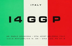 8549 Amateur Radio QSL Card  BOLOGNA ITALY