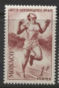 Monaco - Scott 205 - London Olympics -1948 - MLH - Single 1f Stamp