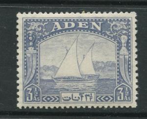 ADEN - Scott 7 - Dhow Issue - 1937- MVLH - Single 3.1/2a Stamp