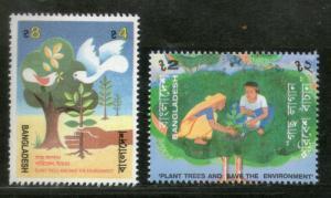 Bangladesh 1992 Tree Plantation Save the Environment Birds Sc 412-13 MNH # 2986