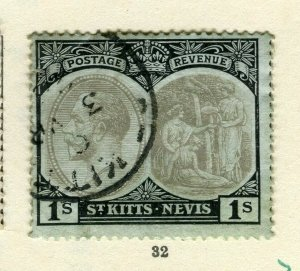 ST.KITTS; 1920s early GV issue fine used Columbus issue 1s. value