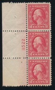 1917 US 2c Washington Sc#499 Plate Number Strip of 3 ⭐⭐⭐⭐⭐⭐