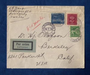 Sweden Sc #116 and Sc #148 With Airmail Sc C6 On A Cover to USA F-VF