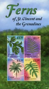 Union Island Grenadines St Vincent 2015 MNH Ferns 4v M/S West Indian Tree Fern