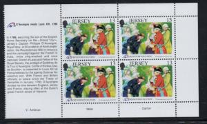 Jersey Sc 516a 1989 13 p French Revolution stamp booklet pane mint NH