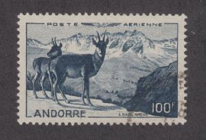 Andorra, French Sc C1 used 1950 100f Chamois Antelope, choice VF