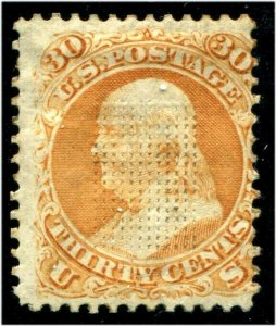 HERRICKSTAMP UNITED STATES Sc.# 100 Scarce, Regum Soaked into Grill, Fine NG