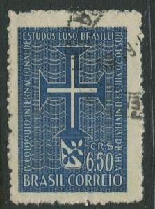 Brazil - Scott 899 - Cross & Lusitania - 1959 - Used- Single 6.50cr Stamp