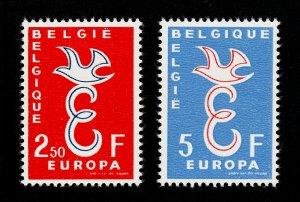 BELGIUM 1958 EUROPA E AND DOVE MNH-OG (SCOTT #527-528)