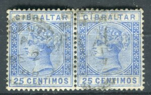 GIBRALTAR; 1890s early QV issue fine used 25c. Pair