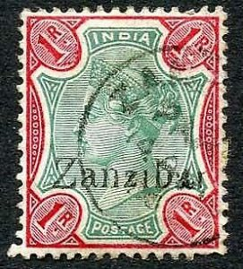 Zanzibar SG18 1r Green and aniline-carmine Small second Z