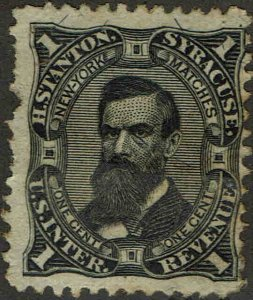 RO#171b 1862 1c H. STANTON MATCH AND MEDICINE ISSUE MINT-NO GUM