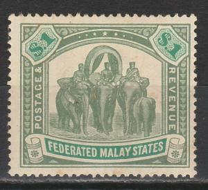 FEDERATED MALAY STATES 1904 ELEPHANTS $1 WMK MULTI CROWN CA