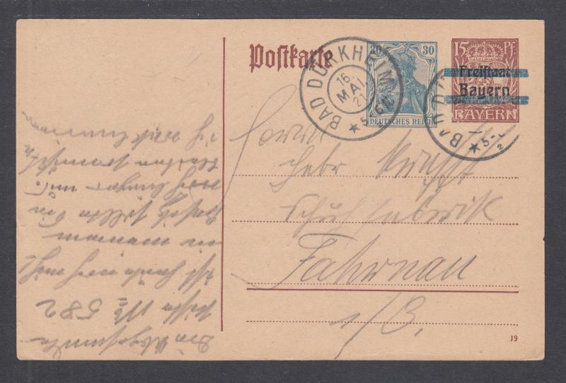 Germany Mi P133I used 1921 15pf postal card of Bavaria with new German indicium