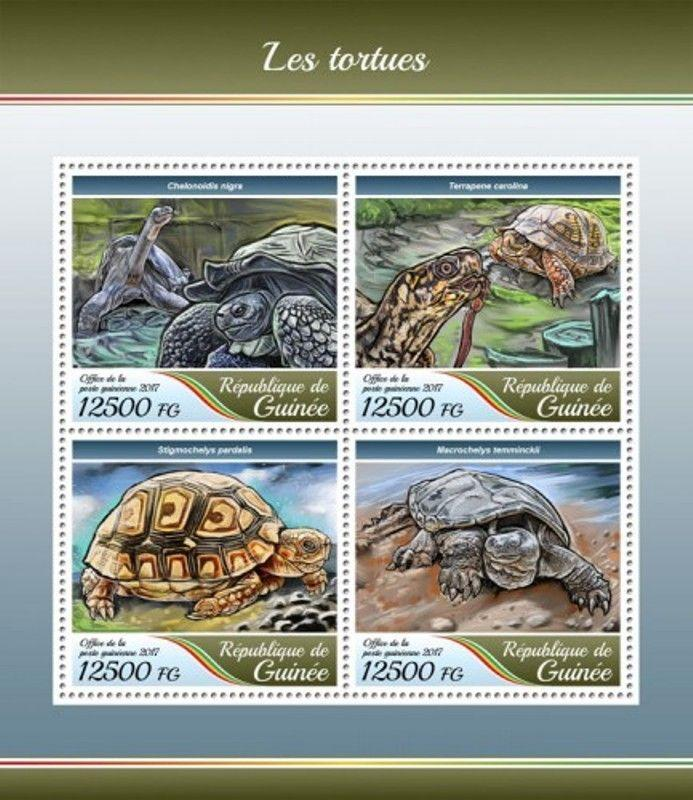 Guinea - 2017 Turtles - 4 Stamp Sheet - GU17413a
