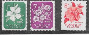 Norfolk Islands #29,32,32  Flowers (MNH) CV$2.60