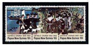 Papua New Guinea MNH Strip 570 Catholic Church Centenary 1982