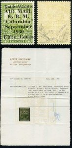 NEWFOUNDLAND SG191 1930 Airmail 50c on 36c sage-green Columbia Fresh and Fine