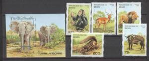 Benin 774-79 MNH Wild animals SCV6.50