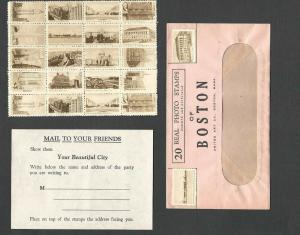Ca 1912 BOSTON MA 20 REAL PHOTO STAMPS W/GUM & PERFED EACH IDENTIFIED SEE INFO