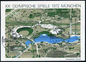 Germany B489 sheet,CTO-Kassel.Michel Bl.7. Olympic Games Site Munich-1972.