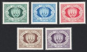 San Marino San Marino Postage Stamps 5v 1977 MNH SG#1077-1081