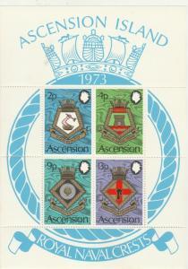 ASCENSION 1973 NAVY CRESTS MINIATURE SHEET MNH **