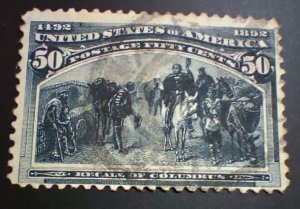 #240 - Used 1893 50c Recall of Columbus, some thins. Free shipping. SCV $175