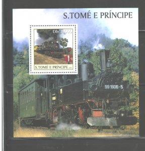S TOME E PRINCIPE 2003 TRAINS M.S.. #1568  MNH