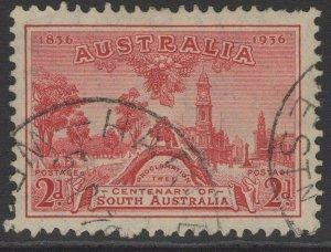 AUSTRALIA SG161 1936 CENTENARY OF SOUTH AUSTRALIA 2d CARMINE FINE USED