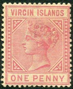 BRITISH VIRGIN ISLANDS-1883 1d Pale Rose Sg 29 toned gum AVERAGE MOUNTED MINT