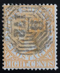 MALAYA Straits Settlement 1867 QV 8c SG#14 wmk Crown CC postmark B-172 M1434