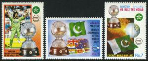 Pakistan 762-764, MNH. World Cricket Champions, Flag, fireworks, 1992