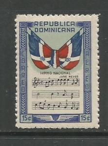 DOMINICAN REPUBLIC, C58, MINT HINGED, FLAG AND NATIONAL ANTHEM BLUE 15C STAMP