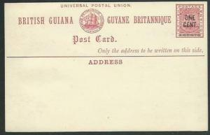 BR GUIANA QV ONE CENT on 3c ship type postcard fine unused.................61480