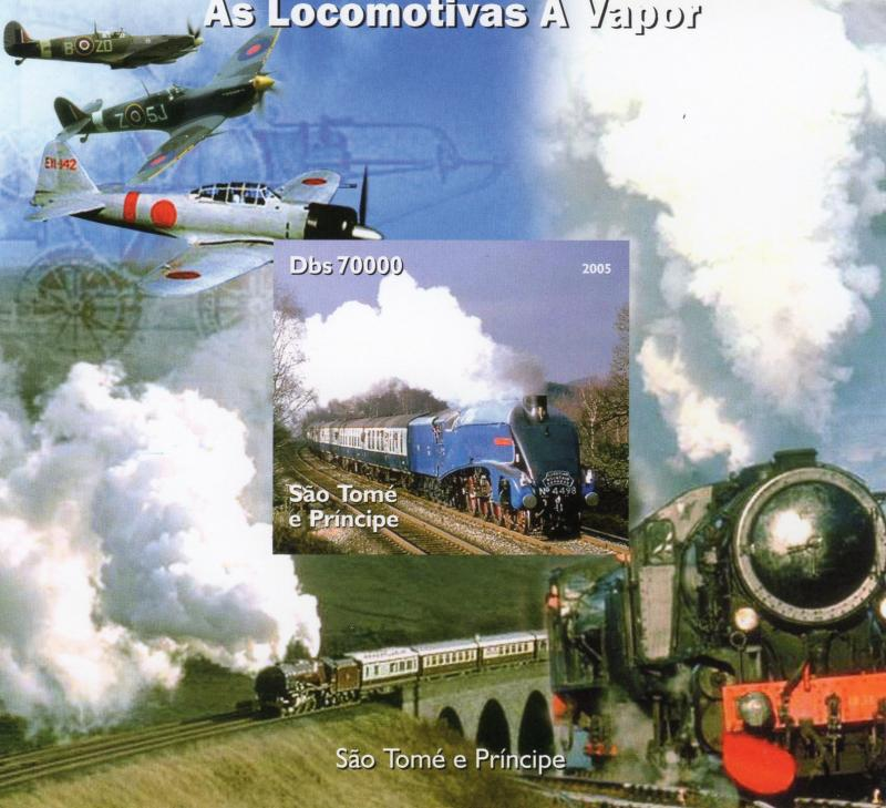 Sao Tome and Principe 2005 STEAM TRAINS/SPITFIRE S/S Imperforated