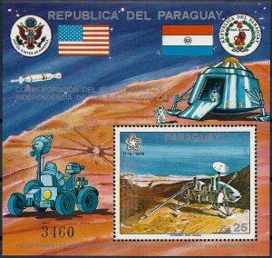 1976 Paraguay Mars, Viking A, 200 Years USA, Sheet Nr. 282 VFMNH, CAT 25$