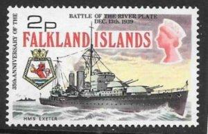 FALKLAND ISLANDS SG307 1974 2p BATTLE OF THE RIVER PLATE MNH