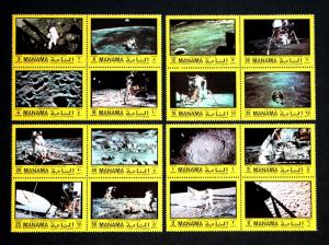 Manama  Set of Moon Landing Space Stamps 4-Blocks MH