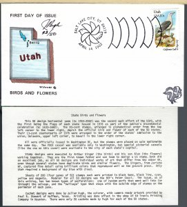 Pugh Designed/Painted Utah Birds & Flowers FDC.. 25 of  Only 50 created!