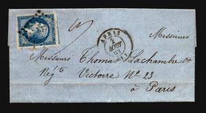France 1862 Letter Cover Abras to Paris - Z15688