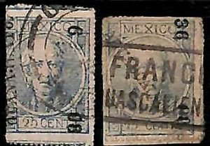 94938j  - MEXICO -  STAMPS  - Yvert # 45a II * 2  -   USED