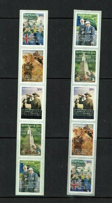 Australia: 2008 'Lest we Forget' Anzac Day, Self-adhesive strips.