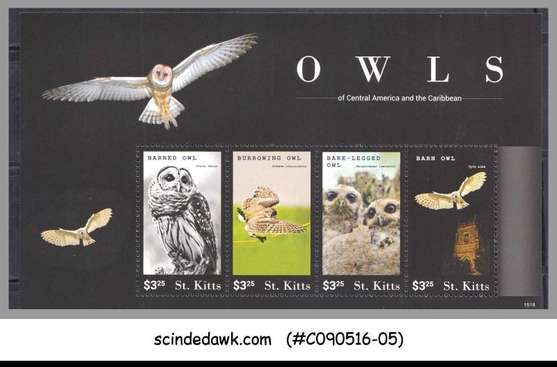 ST. KITTS - 2015 OWLS / BIRDS - MINIATURE SHEET MINT NH